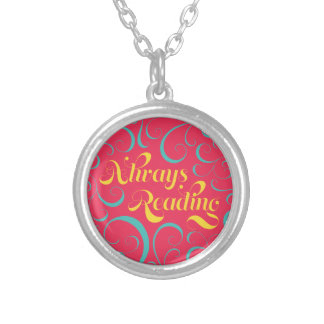 Always Reading Bright Pink Blue Yellow Swirls Silver Plated Necklace