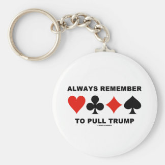 Always Remember To Pull Trump (Four Card Suits) Basic Round Button Key Ring