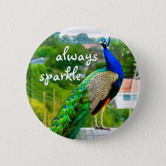 """Always sparkle"" blue green peacock photo button"