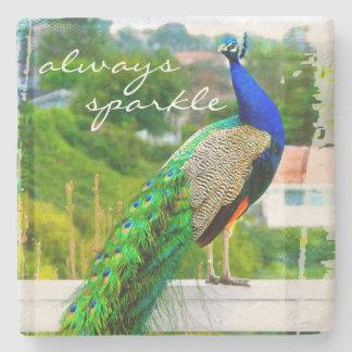 """""""Always sparkle"""" blue peacock photo stone coaster"""