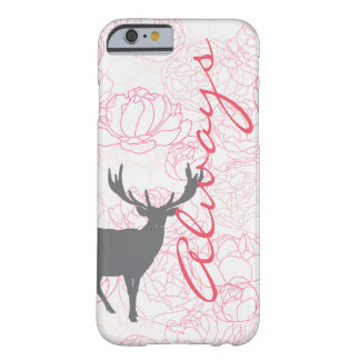 Always Stag Phone Case with Peonies Barely There iPhone 6 Case