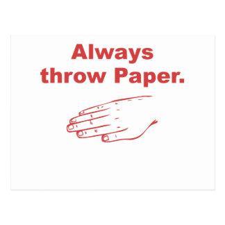Always Throw Paper Postcards