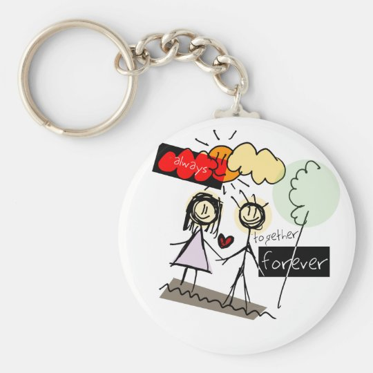 """""""Always Together Forever"""" Fun Art Products Basic Round Button Key Ring"""