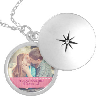 Always Together Modern Custom Photo Romantic Round Locket Necklace
