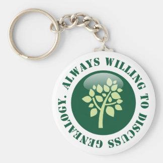 Always Willing To Discuss Genealogy Basic Round Button Key Ring