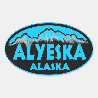 Alyeska Alaska blue oval stickers