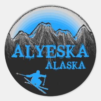 Alyeska Alaska blue skier stickers