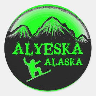 Alyeska Alaska green snowboarder stickers