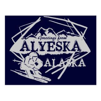 Alyeska Alaska greetings navy skier postcard
