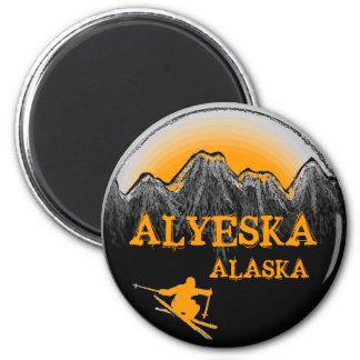 Alyeska Alaska orange skier magnet