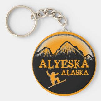 Alyeska Alaska orange snowboarder keychain