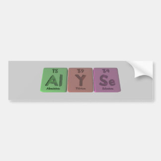 Alyse as Aluminium Car Bumper Sticker