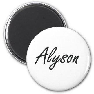 Alyson artistic Name Design 6 Cm Round Magnet