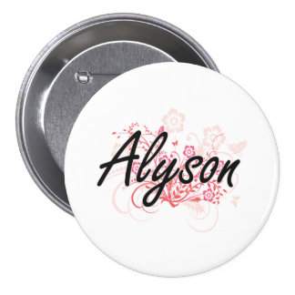 Alyson Artistic Name Design with Flowers 7.5 Cm Round Badge