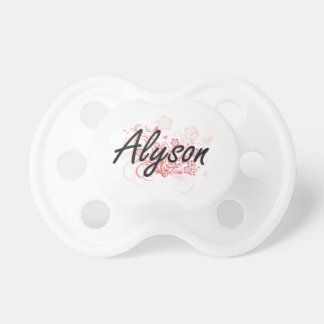 Alyson Artistic Name Design with Flowers Baby Pacifier