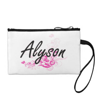 Alyson Artistic Name Design with Flowers Coin Purses
