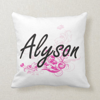 Alyson Artistic Name Design with Flowers Cushion