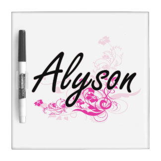 Alyson Artistic Name Design with Flowers Dry-Erase Whiteboards
