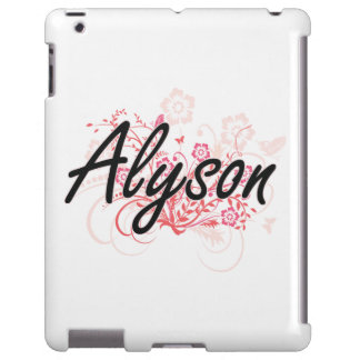 Alyson Artistic Name Design with Flowers iPad Case