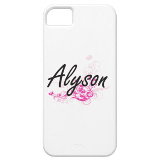 Alyson Artistic Name Design with Flowers iPhone 5 Cases