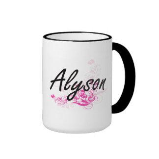 Alyson Artistic Name Design with Flowers Ringer Mug