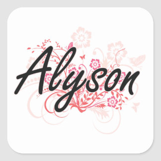 Alyson Artistic Name Design with Flowers Square Sticker