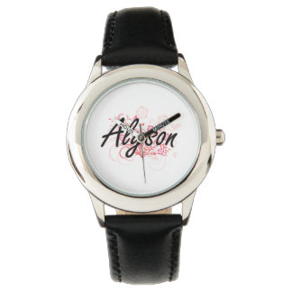 Alyson Artistic Name Design with Flowers Wristwatches