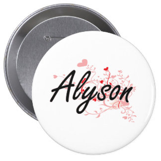 Alyson Artistic Name Design with Hearts 10 Cm Round Badge