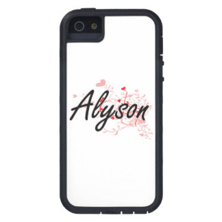 Alyson Artistic Name Design with Hearts iPhone 5 Cover
