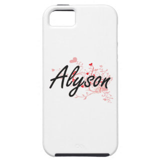 Alyson Artistic Name Design with Hearts iPhone 5 Covers