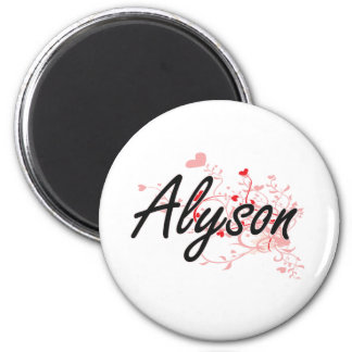 Alyson Artistic Name Design with Hearts 6 Cm Round Magnet