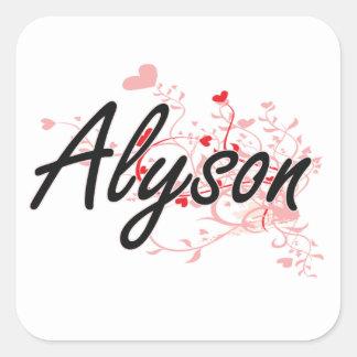 Alyson Artistic Name Design with Hearts Square Sticker
