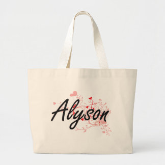 Alyson Artistic Name Design with Hearts Jumbo Tote Bag