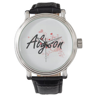 Alyson Artistic Name Design with Hearts Watches