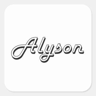 Alyson Classic Retro Name Design Square Sticker