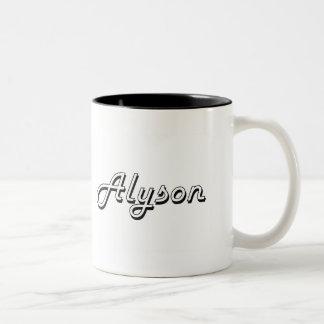 Alyson Classic Retro Name Design Two-Tone Mug