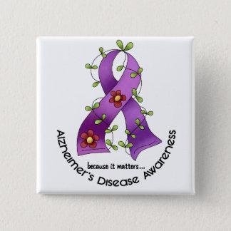 ALZHEIMER'S DISEASE AWARENESS Flower Ribbon 1 15 Cm Square Badge
