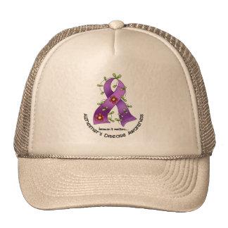ALZHEIMER'S DISEASE AWARENESS Flower Ribbon 1 Mesh Hat