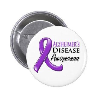 Alzheimer's Disease Awareness Ribbon 6 Cm Round Badge