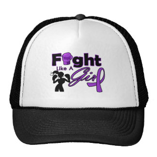 Alzheimer s Disease Fight Like A Girl Silhouette Trucker Hat