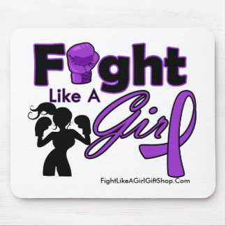 Alzheimer s Disease Fight Like A Girl Silhouette Mouse Pads