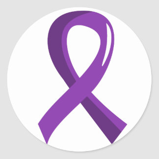 Alzheimer s Disease Purple Ribbon 3 Round Stickers