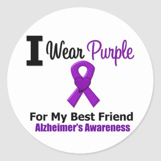 Alzheimer s Disease Purple Ribbon Best Friend Round Stickers