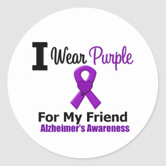 Alzheimer s Disease Purple Ribbon For My Friend Round Stickers