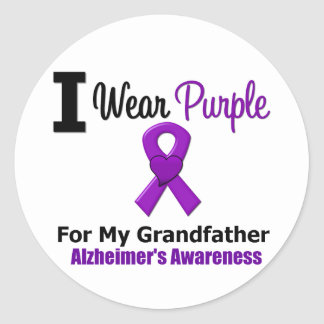 Alzheimer s Disease Purple Ribbon Grandfather Round Stickers