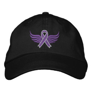 Alzheimer s Disease Ribbon Wings Embroidered Baseball Caps