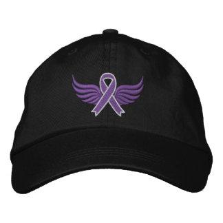 Alzheimer s Disease Ribbon Wings Embroidered Baseball Caps