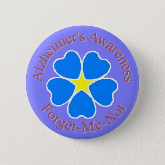 Alzheimer's Awareness forget me not button rd