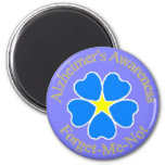 Alzheimer's Awareness forget me not 6 Cm Round Magnet