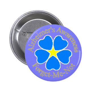 Alzheimer's Awareness Forget me not Ylw 6 Cm Round Badge